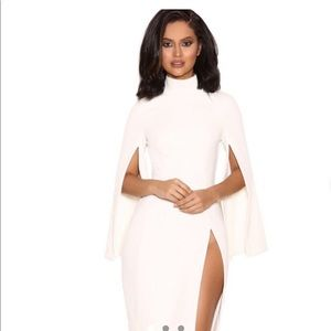 House of CB Kristina white cape dress